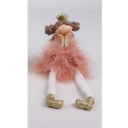 Vianočná ozdoba - anjelik dievčatko v šatách z peria - ružové