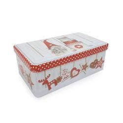 Vianočná plechová dóza - obdĺžniková 18,8 x 11,5 x 7 cm - Škriatok s darčekmi