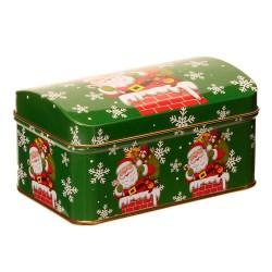 Vianočná plechová dóza - vypuklá s Mikulášom 13 x 8 x 7 cm