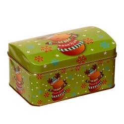 Vianočná plechová dóza - vypuklá so sobom 15 x 10 x 8 cm