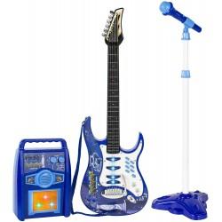 ISO Trade 1554 Detská rocková elektrická gitara na batérie modrá + zosilňovač a mikrofón