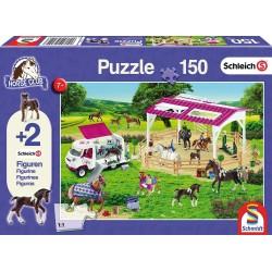 Schleich 56240 Schmidt Puzzle 150 ks-ové Horse Club + 2 Schleich figúrky