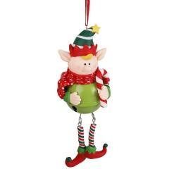 Ozdoba na vianočný stromček - Škriatok na roľničke zelený - 1 kus