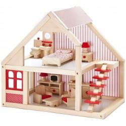 Mentari Drevený domček pre bábiky - natur-červený