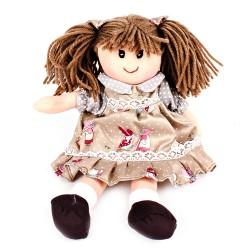 Látková bábika - 25 cm-ová textilná - v hnedých šatách
