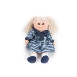 Látková bábika - 30 cm-ová textilná - v modrých pruhovaných šatách