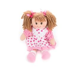 Látková bábika - 30 cm-ová textilná - v bielo-ružových bodkovaných šatách