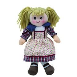 Látková bábika - 30 cm-ová textilná - v kvietkovo-pruhovaných šatách