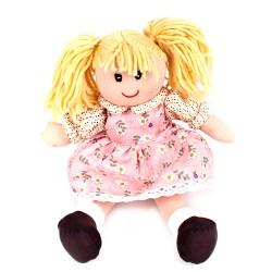 Látková bábika - 30 cm-ová textilná - v ružových šatách s čipkou