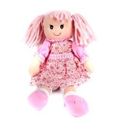Látková bábika - 30 cm-ová textilná - v ružových šatách s ružovými vlasmi