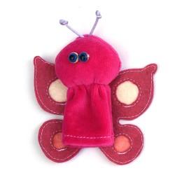 Prstová plyšová maňuška - Motýľ ružový