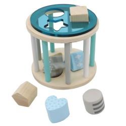 Drevená krabička na vkladanie tvarov - valec modrý