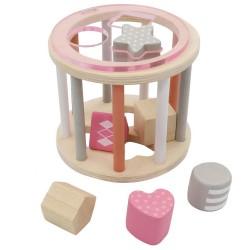 Drevená krabička na vkladanie tvarov - valec ružový