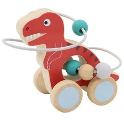 VIGA drevená hračka na ťahanie s motorickým labyrintom Tyrannosaurus