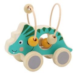VIGA drevená hračka na ťahanie s motorickým labyrintom Triceratops