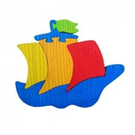 Drevená dekorácia - loďka modrá