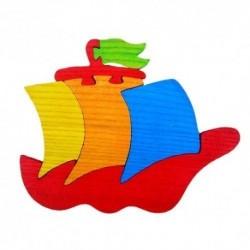 Drevená dekorácia - loďka červená