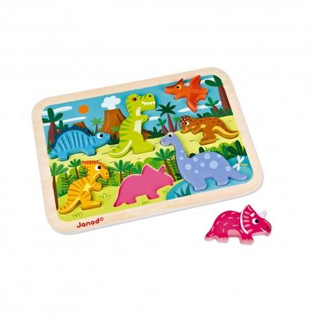 JANOD detské drevené puzzle pre najmenších Dinosaurus Chunky