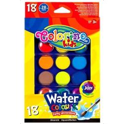 Colorino Kids vodové farby - 18 farieb s Ø 28 mm