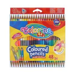 Colorino Kids farebné ceruzky 24 ks/48 farieb - gold-silver, fluo