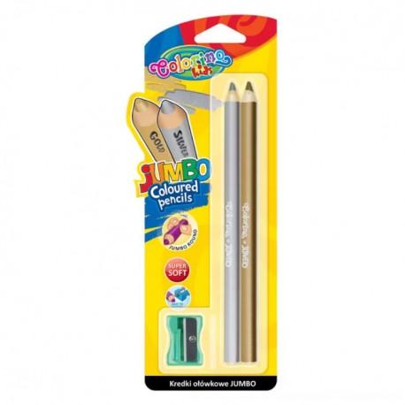 Colorino Kids farebné ceruzky Jumbo - zlatá a strieborná