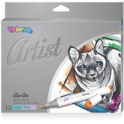 Colorino Artist farebné fixky na skicovanie obojstranné - 12 farieb