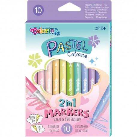 Colorino Kids Farebné obojstranné fixky so štetcovým hrotom 10 ks-ové Pastel