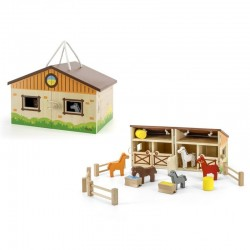 VIGA Drevená otvárateľná stajňa so zvieratkami