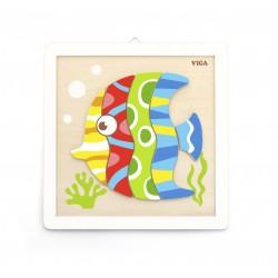 VIGA Drevené puzzle na vymaľovanie Ryba
