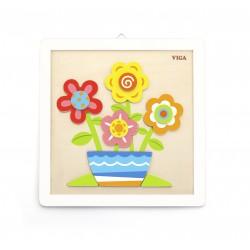 VIGA Drevené puzzle na vymaľovanie Kvety