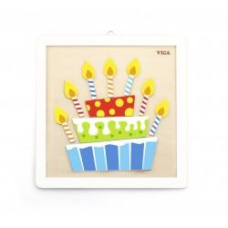 VIGA Drevené puzzle na vymaľovanie Torta
