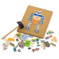 Drevená mozaika na pribíjanie - Robot