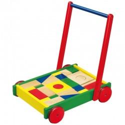 VIGA Drevené chodítko a vozík na tlačenie s kockami