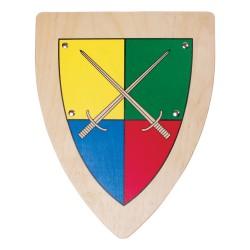 Drevený rytiersky štít s mečmi