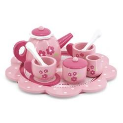 VIGA Drevená čajová súprava - ružová s kvietkami
