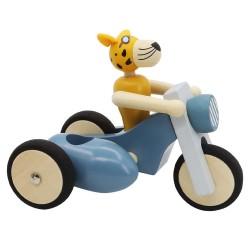Drevený gepard na motorke - modrej