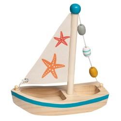 Drevená hračka na vodu - plachetnica modrá s hviezdicou