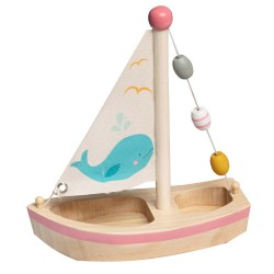 Drevená hračka na vodu - plachetnica ružová s veľrybou