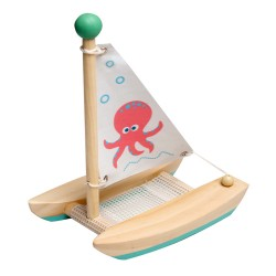 Drevená hračka na vodu - Katamarán Chobotnica