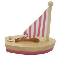 Drevená hračka na vodu - mini plachetnica ružová