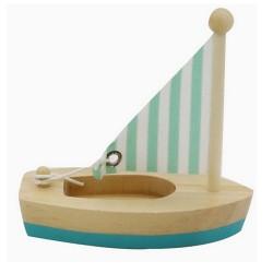 Drevená hračka na vodu - mini plachetnica modrá
