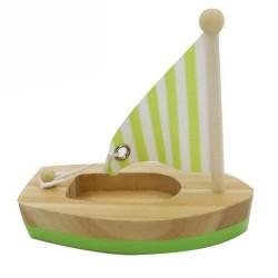 Drevená hračka na vodu - mini plachetnica zelená