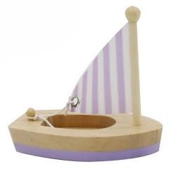 Drevená hračka na vodu - mini plachetnica fialová