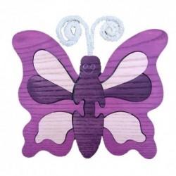 Drevená dekorácia - motýlik fialový