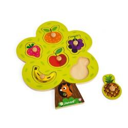 JANOD detské drevené puzzle Ovocný strom