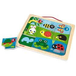 JANOD Drevené vkladacie magnetické puzzle Zvieratká v záhrade