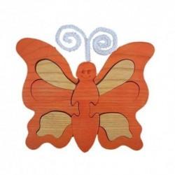 Drevená dekorácia - motýlik oranžový
