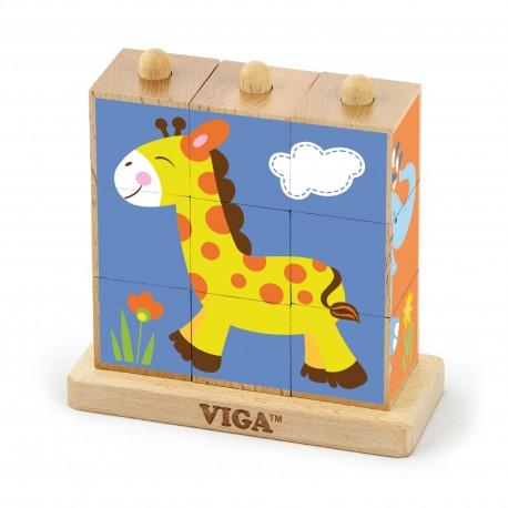 VIGA Drevená skladačka - divoké zvieratká