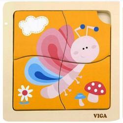 VIGA Drevené puzzle pre najmenších - 4 dieliky - Motýľ