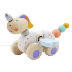 Drevená hračka na ťahanie - Jednorožec